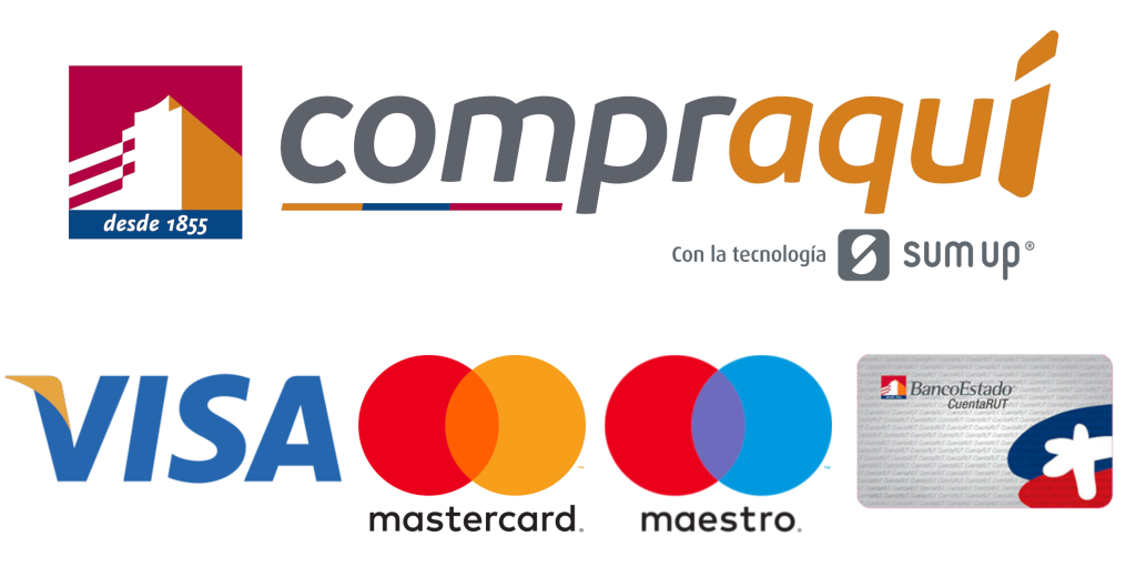 Aceptamos Visa, MasterCard, Maestro y CuentaRut